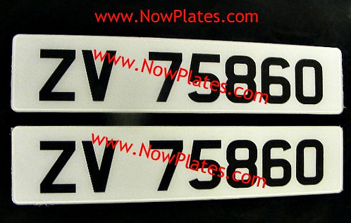 Pair of Retro Acrylic Plates Large Font with a colour choice