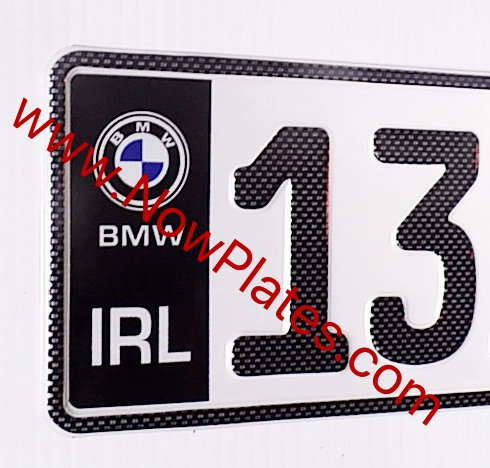Pair of Black Flag Carbon Fibre Look German Pressed Plates with a Logo Choice