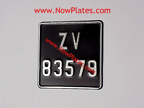 Black and Chrome Pressed Motorcycle Plate with Border Small No's 165x165
