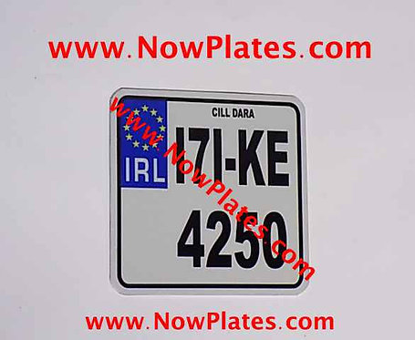 Small IRL Flat Metal Motorcycle Plate with a size choice