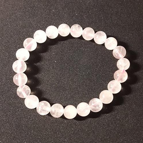 Quartz rose, bracelet perles 8 mm