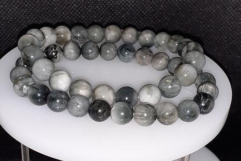 Oeil de chat, bracelet perles 8 mm