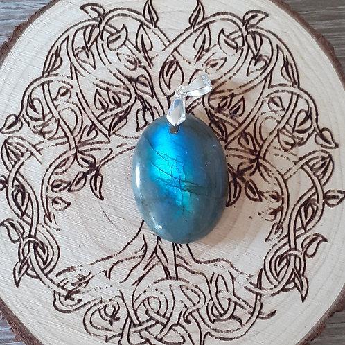 Labradorite bleue, pendentif bélière argent 925