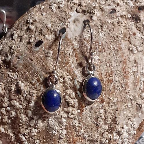 Lapis lazuli, boucles d'oreilles,  serti et monté sur argent 925