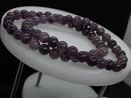 Lépidolite, bracelet perles 6 mm