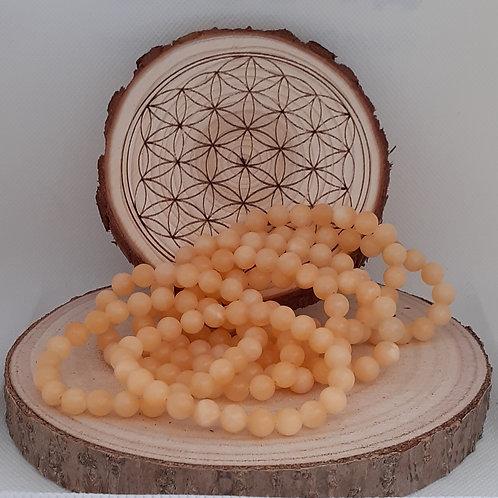 Calcite orange, bracelet perles 8mm
