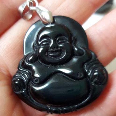 Obsidienne noire, pendentif Bouddha