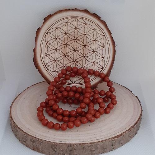 Jaspe rouge, bracelet perles 8mm