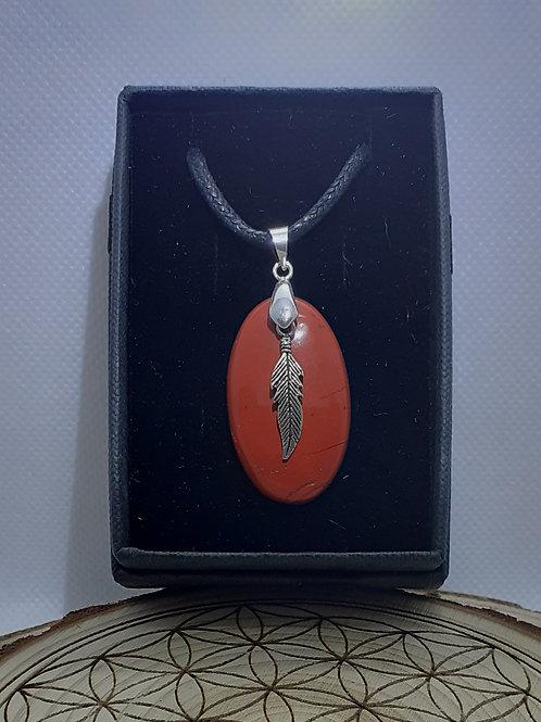 Jaspe rouge, pendentif avec plume, argent 925