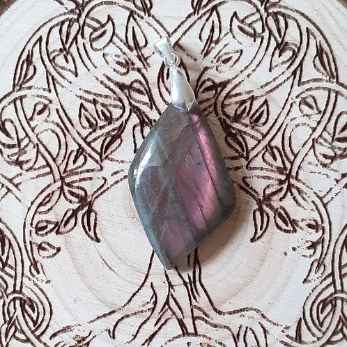 Labradorite violette, pendentif bélière argent 925