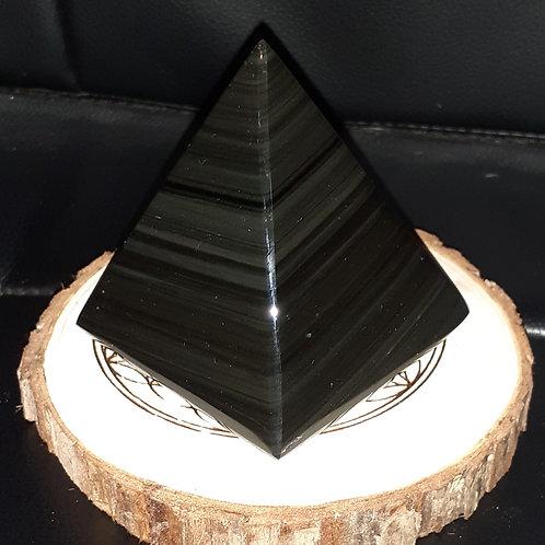 Obsidienne oeil céleste Pyramide 75 mm de hauteur