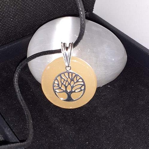 Calcite orange et arbre de vie, pendentif argent 925