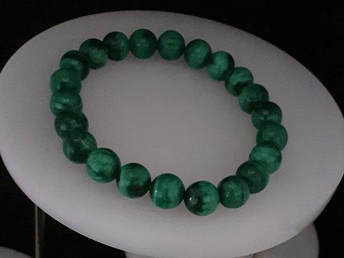 Malachite, bracelet perles 8 mm