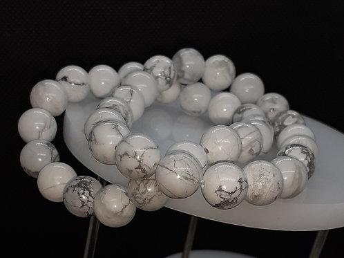 Howlite ou magnésite, bracelet perles 10 mm