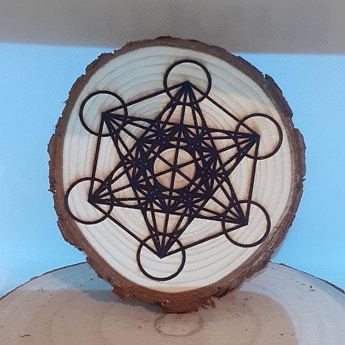 Onde de forme Métatron, gravé sur tranche de bois
