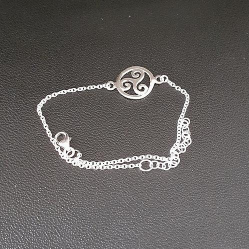 Bracelet symbole triskel, en argent 925