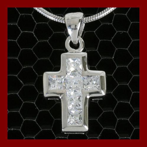 Petite croix  6 zircons en argent 925°/°° rhodier