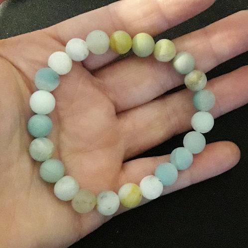 Amazonite dépolie, bracelet perles 8 mm