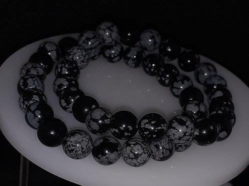 Obsidienne flocons de neige, bracelet perles 8 mm