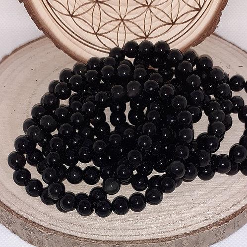 Obsidienne œil céleste, bracelet perles 8 mm