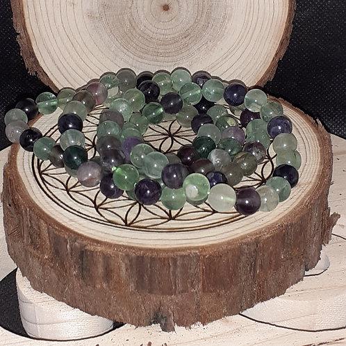 Fluorite, bracelet perles 8 mm