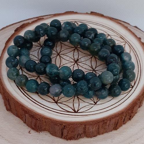 Agate mousse, bracelet perles 8mm