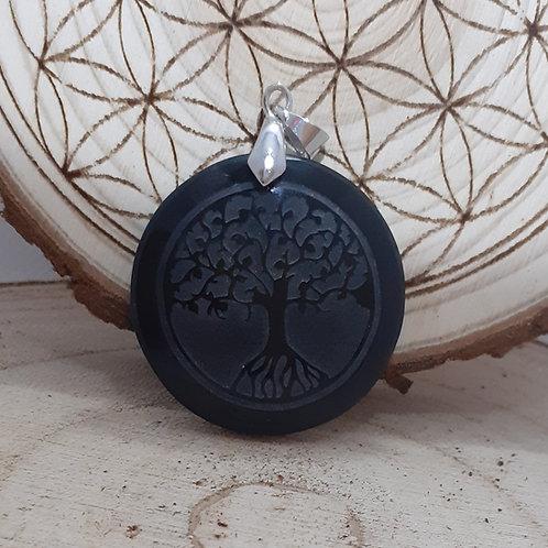 obsidienne noire, gravée arbre de vie, pendentif