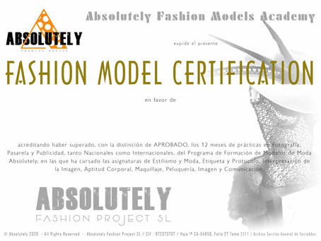 ABSOLUTELY FASHION MODEL CERTIFICATE