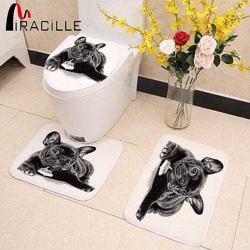 Black French Bulldog Print 3pcs/Set Bath Decor