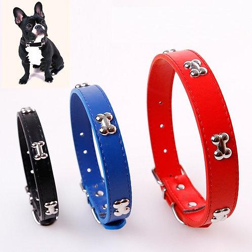 Bone Durable Leather Dog Collar
