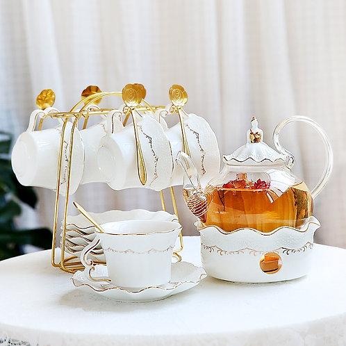 Afternoon Tea Ceramic Pot and Cup/Saucer/Spoon Set