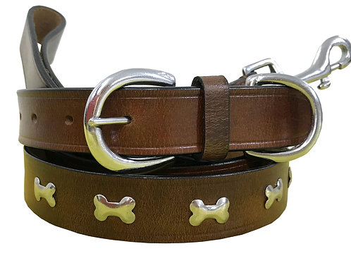 Genuine Leather Matching Dog Collar and Lead Set