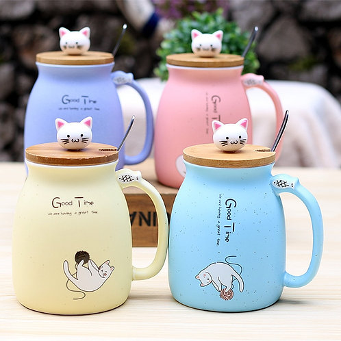 Ceramic Cat Mug with Lid and Spoon