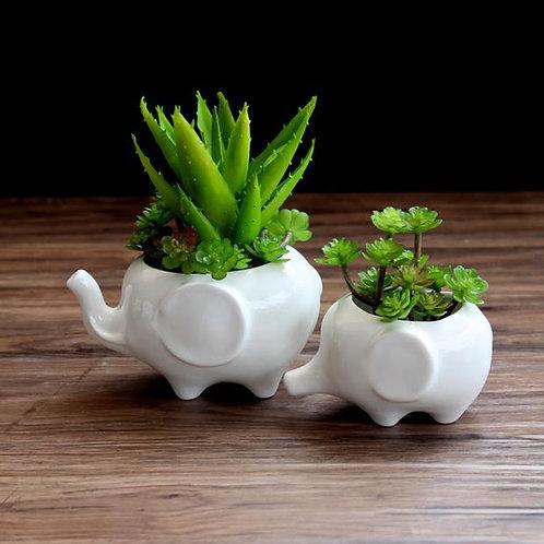 White Elephant Ceramic Flower Pot