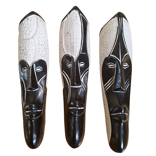 "Set of (3) Masks: 12"" African Gabon Cameroon Wood Fang Masks: Black and White"