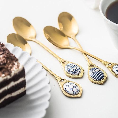 4pcs Golden Stainless Steel/Porcelain Spoon Set