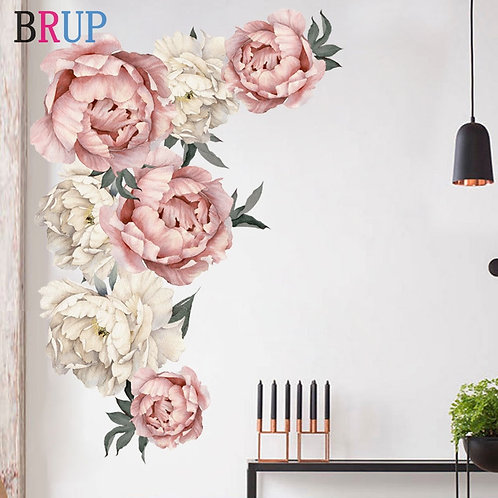 Large Pink Peony Flower Wall Decal