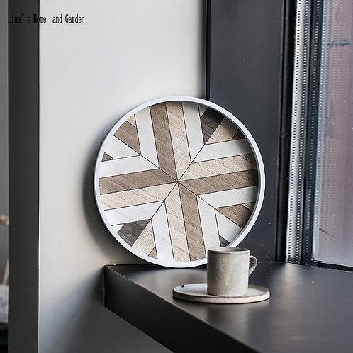 Handmade Elegant European Geometry Round Wooden Serving Tray