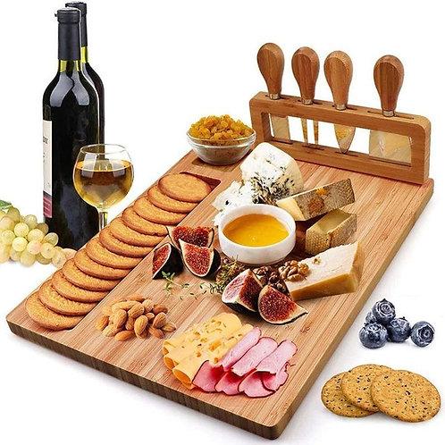 Bamboo Cheese Board & Cheese Knife Set