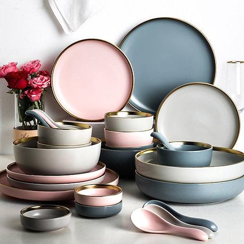 Ceramic Solid Color  Plate Gold Trim Ceramic Dinnerware