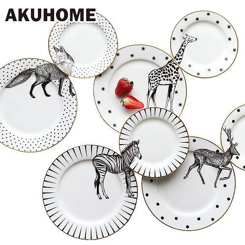 2 Pcs 6 & 8 Inch Animal Combined Ceramic Plate Set