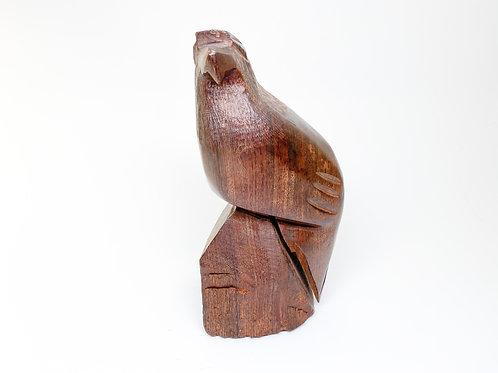 Vintage Hand Carved Teak Wooden Figurine of a Falcon - Eagle, Bird of Prey, Wood