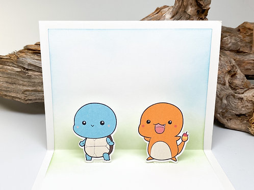 Handmade Squirtle and Charmander Popup Card - Pokemon, Birthday, Valentine