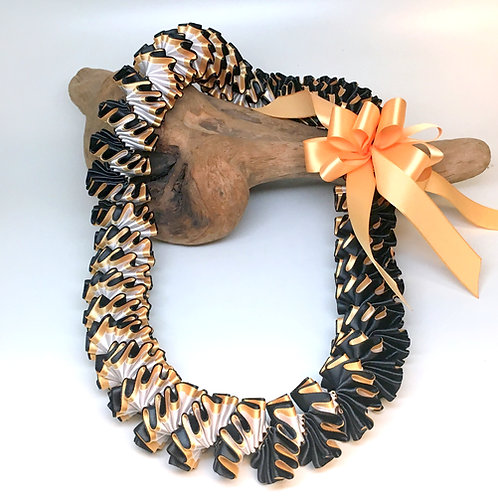 Gold, Black, and White Plumeria Style Hand Stitched Ribbon Lei - Graduation