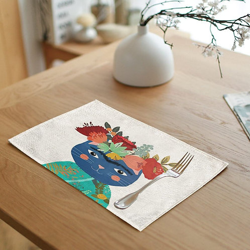 Cat Floral Crown Placemat
