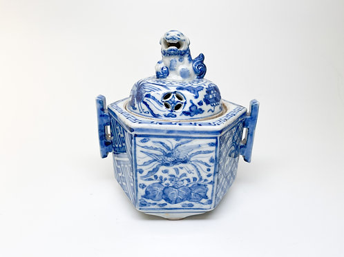 Late 19th Century Kutani Japanese Ware Blue and White Porcelain Urn - Censer