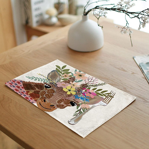Giraffe Floral Crown Placemat