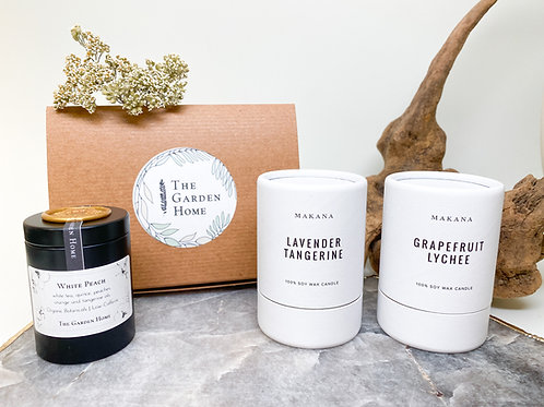 Gift Set (Citrus & Sweet) - Two 3oz Candles by MAKANA and Organic Tea
