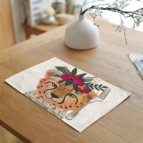 Cheetah Floral Crown Placemat