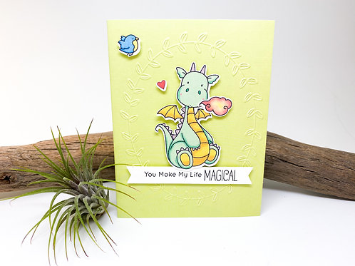 Handmade - You Make my Life Magical Greeting Card - Dragon
